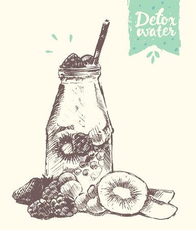 sketch: homemade lemonade, illustration, sketch