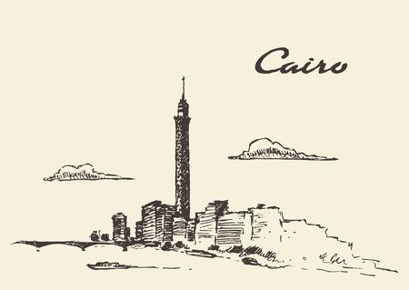 cairo: Cairo skyline, Egypt vintage engraved illustration