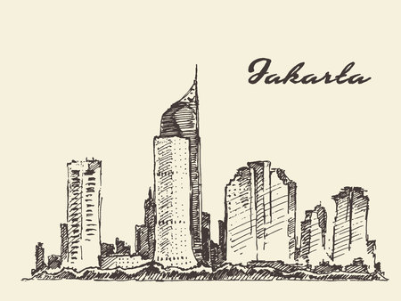 ink painting: Jakarta skyline vintage engraved illustration, hand drawn, sketch Illustration