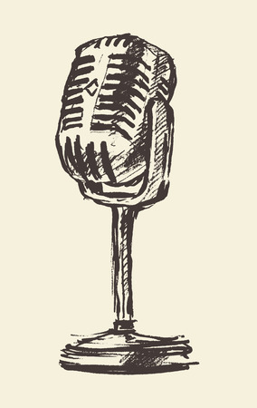 studio microphone vintage illustration, engraved retro style Illustration