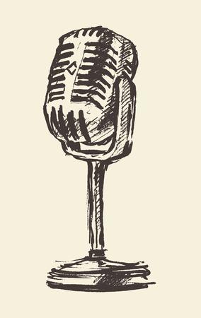 radio: studio microphone vintage illustration, engraved retro style Illustration
