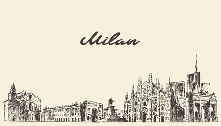 milan: Milan skyline, Italy engraved illustration hand drawn sketch