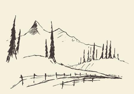 rural road: landscape with hills and rural road, illustration, sketch Illustration