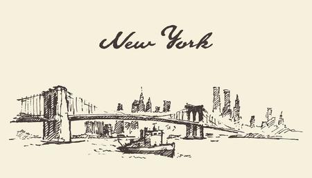 new york: Manhattan bridge. New York United States. Illustration