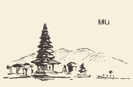 indonesian: Pura Ulun Danu Bratan, Hindu temple on Bratan lake, Bali, Indonesia, vintage engraved illustration, hand drawn, sketch