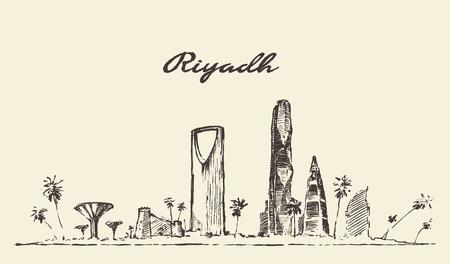 arabia: Riyadh skyline illustration , sketch