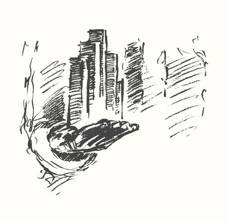 city center: Business city center on man hand. Concept illustration, sketch Illustration