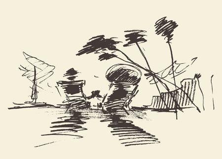 Pareja en una playa tropical, ilustración vectorial, mano, bosquejo Ilustración de vector