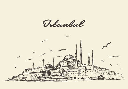 old city: Istanbul detailed skyline Turkey vintage engraved illustration, sketch