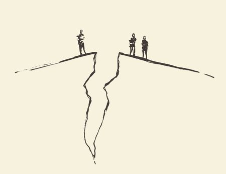 politics: People standing on cracked ground. Concept vector illustration, sketch