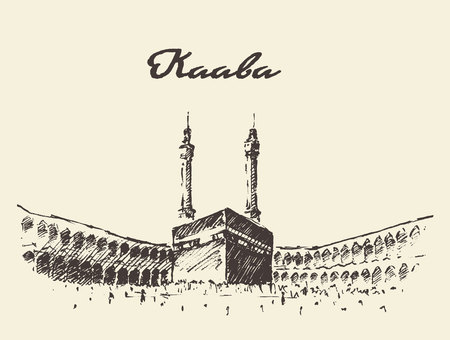 Holy Kaaba in Mecca Saudi Arabia with muslim people, vintage engraved illustration