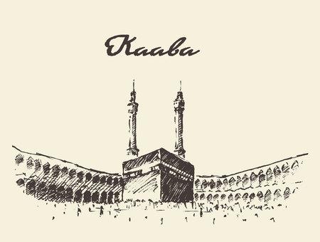 Holy Kaaba in Mecca Saudi Arabia with muslim people, vintage engraved illustration Vetores