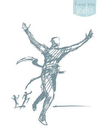 winners: illustration of a man, crossing winner ribbon. Successful finish concept, challenge, win. illustration, sketch.