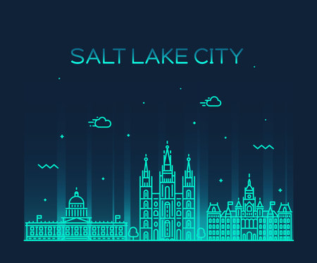 sal: Salt Lake horizonte de la ciudad, Utah. Ilustración de moda, estilo lineal
