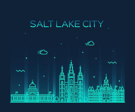 Salt Lake panoramę miasta, Utah. Trendy ilustracji, liniowy styl