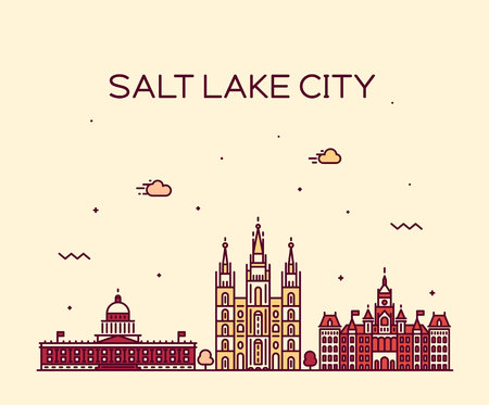 Salt Lake city skyline, Utah. Trendy illustration, linear style 矢量图像