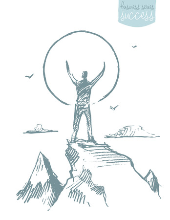 illustration, silhouette of a man on the top of the hill against sunrise, sketch Illustration