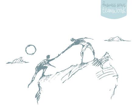 surmount: illustration of a man helping another man to climb sketch. Teamwork partnership concept. illustration sketch