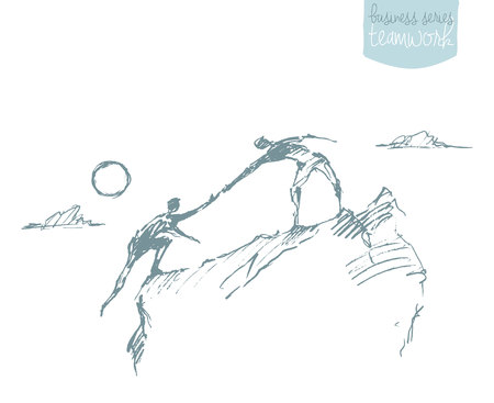 illustration of a man helping another man to climb sketch. Teamwork partnership concept. illustration sketch