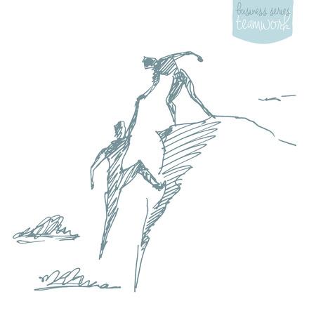 ilustración vectorial de dibujado a mano de un hombre que ayuda a otro hombre para subir boceto. El trabajo en equipo concepto de asociación. Ilustración del vector del bosquejo