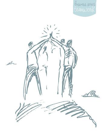 Groupe de personnes au sommet d'une colline tenant la main. Concept de travail en équipe. Illustration vectorielle, croquis.
