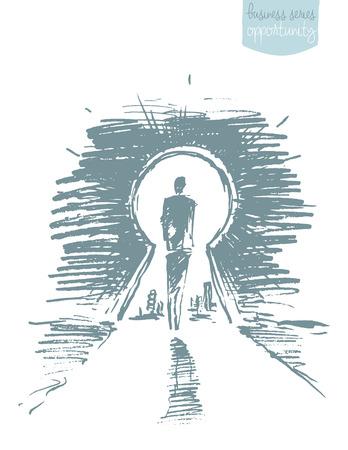 Hand getrokken vectorillustratie van een man, staande voor open sleutelgat. Concept, vectorillustratie, schets Vector Illustratie