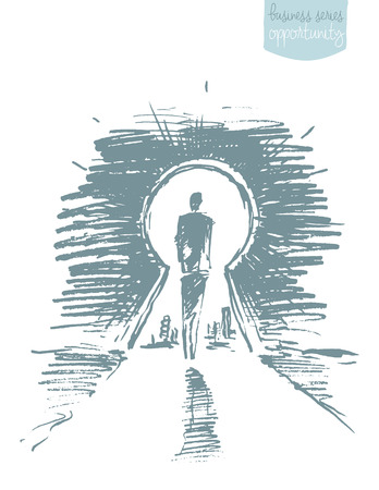 Hand drawn vector illustration of a man, standing in front of open keyhole. Concept, vector illustration, sketch