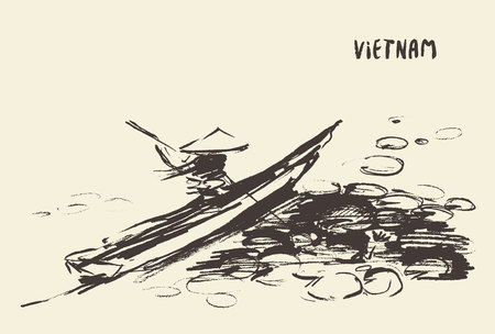 person traveling: Person traveling in boat along river, Vietnam, vector illustration, hand drawn