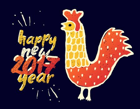 red animal: Happy New 2017 Year funny greeting card. Red Rooster as animal symbol of Chinese New year, vector illustration