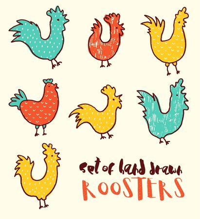 golden egg: Funny doodle illustration of roosters, vector illustration, hand drawn