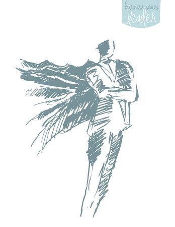 aspirational: Businessman with a waving cloak. Freedom, aspiration, winner creativity hero concept. Vector illustration sketch