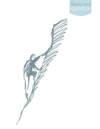Man climbing on a mountain peak. Aspiration, leadership concept. Vector illustration, sketch