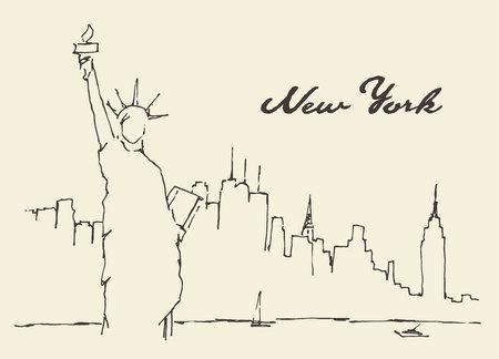 New York stadsarchitectuur met Statue of Liberty op de voorzijde, vector illustratie, getrokken hand, schets Stock Illustratie