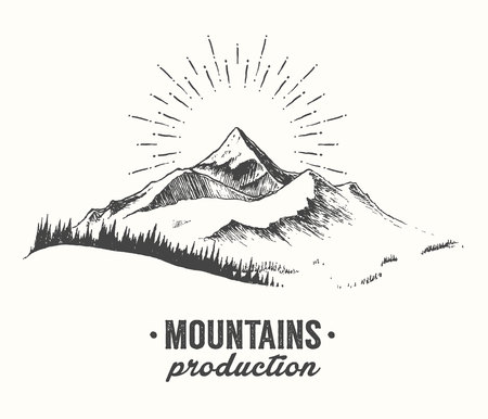 Sketch of a mountains with fir forest, sunrise sunset in the mountains, engraving style, hand drawn vector illustration Stock Illustratie