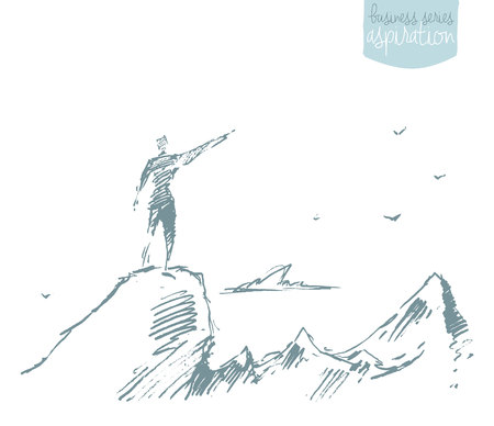 surmount: Hand drawn vector illustration, silhouette of a man on top of a hill, winner concept, sketch Illustration