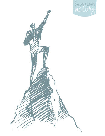 Hand drawn vector illustration, silhouette of a man on top of a hill, winner concept, sketch Illustration