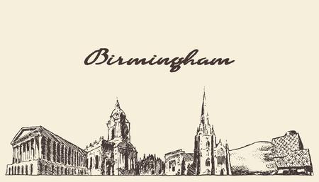 draw a sketch: Birmingham skyline West England vector draw sketch Illustration
