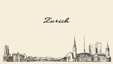 draw a sketch: Zurich Switzerland draw vector illustration sketch