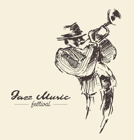 Man playing trumpet vintage drawn illustration