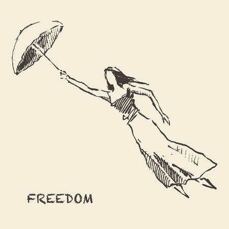 Drawn girl balloons freedom concept Vector Çizim