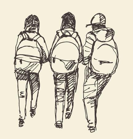 Pupils primary school vector illustration sketch Illustration