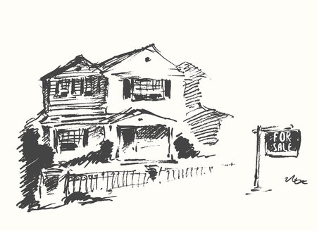 construction projects: House vector real estate drawn sale