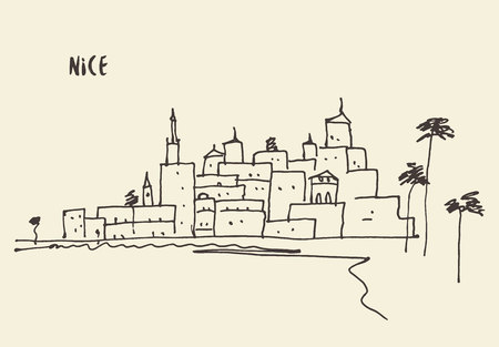 nice france: Sketch of a Nice view, vector illustration, hand drawn Illustration