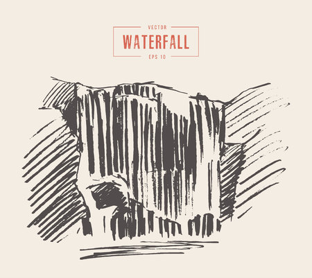 waterfall in forest: Vintage illustration of beautiful waterfall, hand drawn.