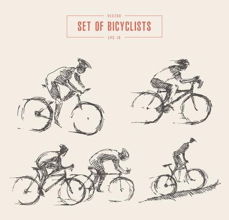 bocetos de personas: Dibujado, bicyclist, jinete, hombres, vector, boceto