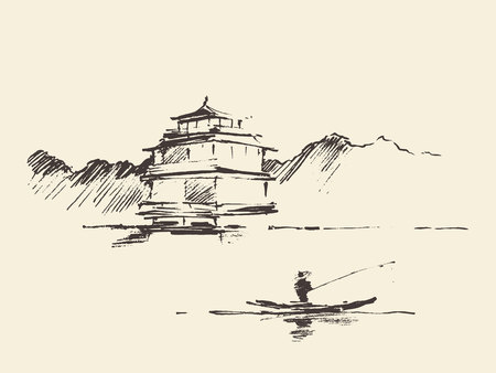 Oriental landscape with pagoda and lake, hand drawn vector illustration, sketch Ilustração