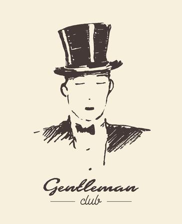 Gentleman club hand drawn label, vector illustration, sketch