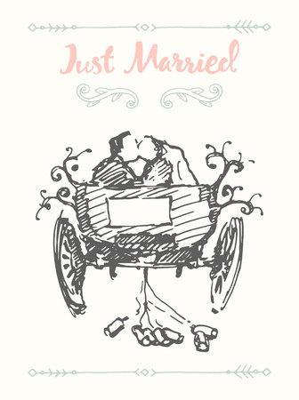 Drawn bride groom carriage vector sketch
