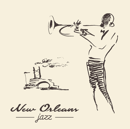 뉴 올리언즈 재즈 포스터 트럼펫 그려진 스케치 스톡 콘텐츠 - 80334218