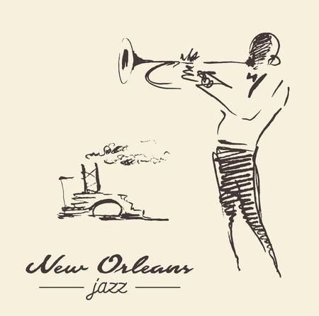 New Orleans jazz poster trompet getekende schets